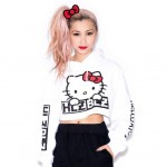 "Hellz Bellz x Hello Kitty  ""White"" Cropped Hoodie"