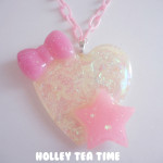 "Holley Tea Time ""Holographic Glitter Heart"" Necklace"