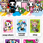The main screen of the tokidoki Photo Bomb App. You have the option to get additional stickers through the app